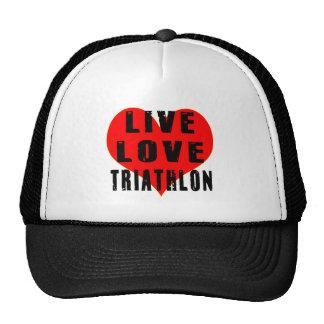 Triathlon vivo del amor gorros bordados