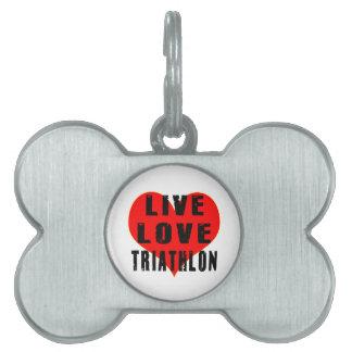Triathlon vivo del amor placa de mascota