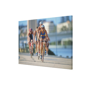 Triathloners Cycling 2 Canvas Print