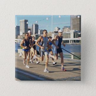 Triathloners Running 3 Pinback Button
