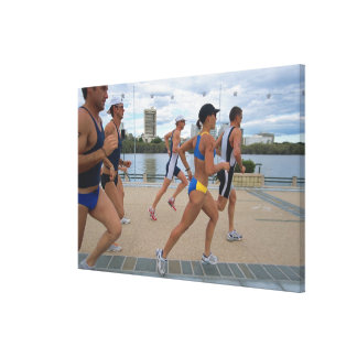 Triathloners Running 4 Canvas Print