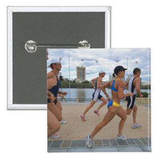 Triathloners Running 4 Pinback Button