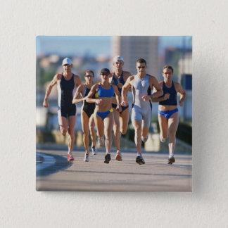 Triathloners Running 5 Pinback Button
