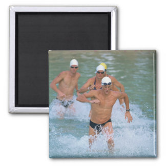 Triathloners Running out of Water 2 Fridge Magnets