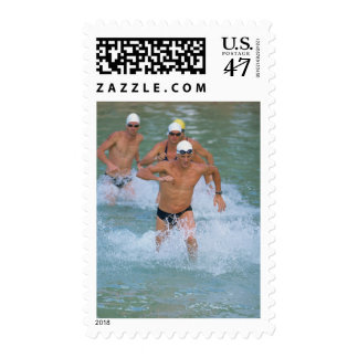 Triathloners Running out of Water 2 Postage Stamp