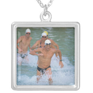 Triathloners Running out of Water 2 Square Pendant Necklace
