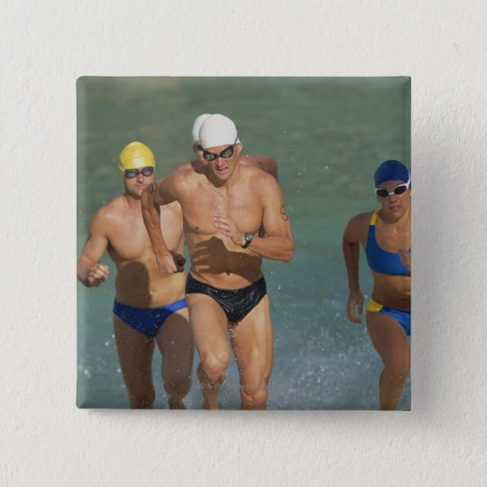 Triathloners Running out of Water 3 Button