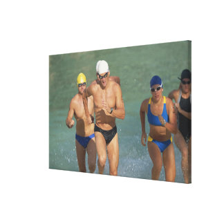Triathloners Running out of Water 3 Canvas Print