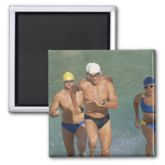 Triathloners Running out of Water 3 Magnets