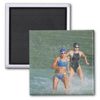 Triathloners Running out of Water Refrigerator Magnet
