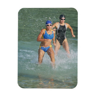 Triathloners Running out of Water Magnets
