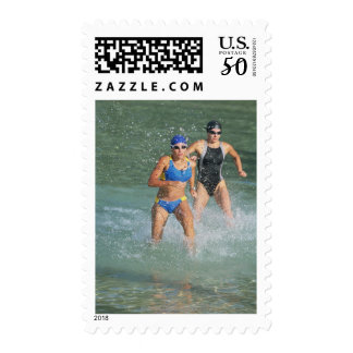 Triathloners Running out of Water Postage