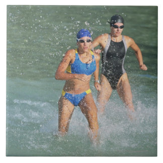Triathloners Running out of Water Large Square Tile