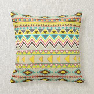 tribal 2 yellow blue oatmeal throw cushion pillow