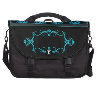 Tribal 5 cyan laptop commuter bag