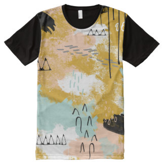 Tribal Abstract Landscape Art Mint Blush Gold All-Over Print T-shirt