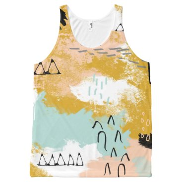 Aztec Themed Tribal Abstract Landscape Art Mint Blush Gold All-Over-Print Tank Top