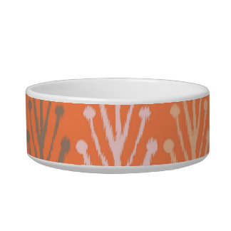 Tribal abstract primitive chevron branch Aztec Cat Water Bowl