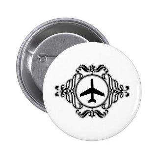 Tribal Airplane Pinback Button