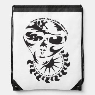 Tribal Alien with sun Drawstring Bag
