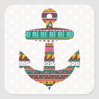 Tribal Anchor Square Sticker