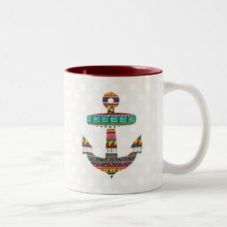 Tribal Anchor Two-Tone Coffee Mug