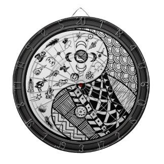 Tribal and Modern Yin and Yang Dartboard