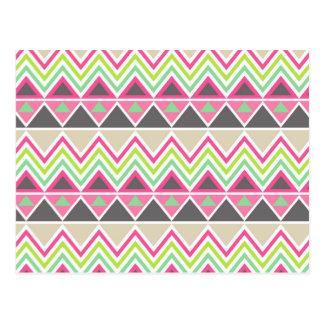 Tribal andes aztec chevron zigzag triangle zig zag postcard