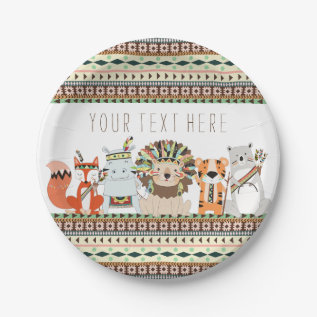 Tribal Animal Baby Shower Paper Plate at Zazzle