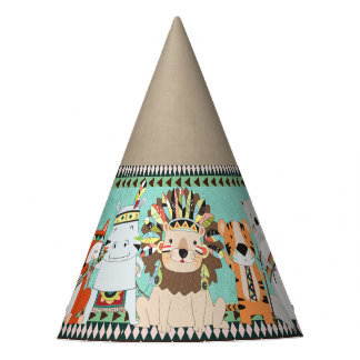 Tribal Animal Kids Birthday Party Party Hat
