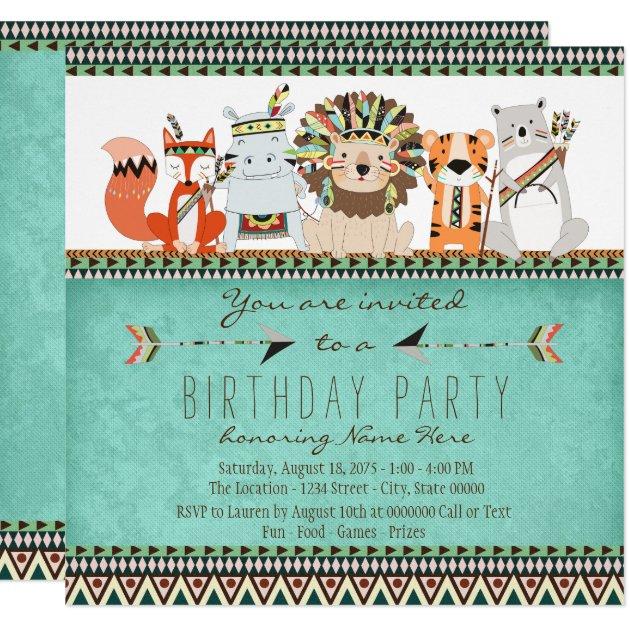 Tribal Animal Kids Native American Birthday Party Invitation