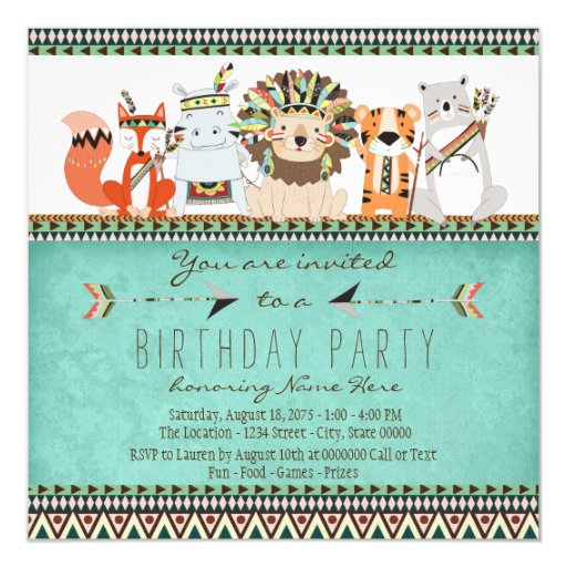Tribal Animal Kids Native American Birthday Party Card