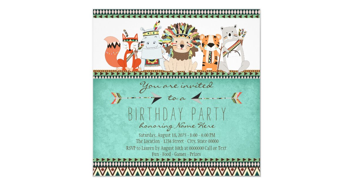 Tribal Animal Kids Native American Birthday Party Invitation