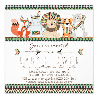 Tribal Animal Native Indian Baby Shower Card