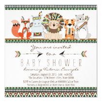 Tribal Animal Native Indian Baby Shower Invitation