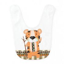 Tribal Animal Tiger Boy Bib