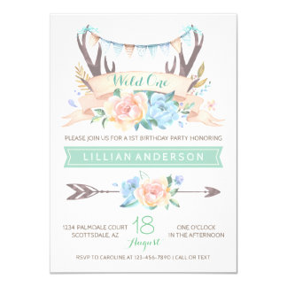Tribal Antler Wild One 1st Birthday Invitations