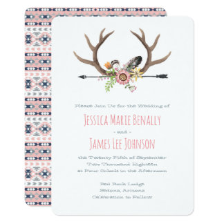 Tribal Arrow and Antlers Pink Card