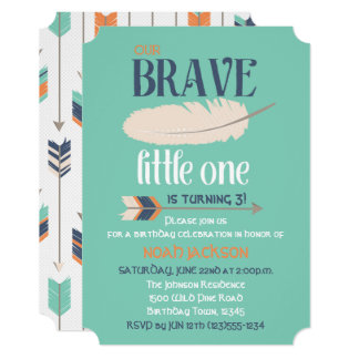 Tribal Arrow and Feather Birthday Party Blue Green Card