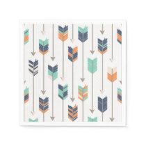 Tribal Arrow Blue Orange Green Paper Napkins