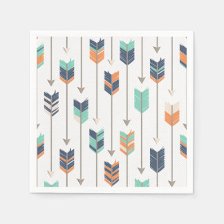 Tribal Arrow Blue Orange Green Paper Napkins