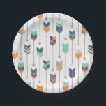 "Tribal Arrow Blue Orange Green Paper Plates<br><div class=""desc"">Tribal Arrow Blue Orange Green Paper Plates</div>"