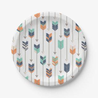Tribal Arrow Blue Orange Green Paper Plates at Zazzle