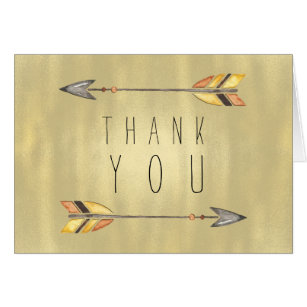 Tribal Arrow Indian Orange Gold Thank You