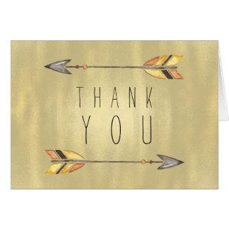 Tribal Arrow Indian Orange Gold Thank You Card