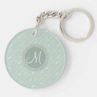 Tribal Arrow Mint Green Monogram Double-Sided Round Acrylic Keychain