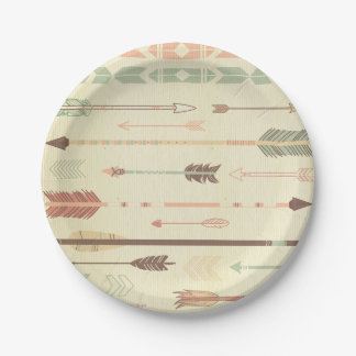 Tribal arrow native pattern vintage trendy modern 7 inch paper plate