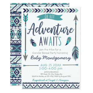 Adventure Awaits Baby Shower Invites for Boys, Tribal Arrows