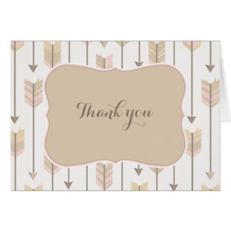 Tribal Arrows Baby Shower Blush Tan Thank You Card