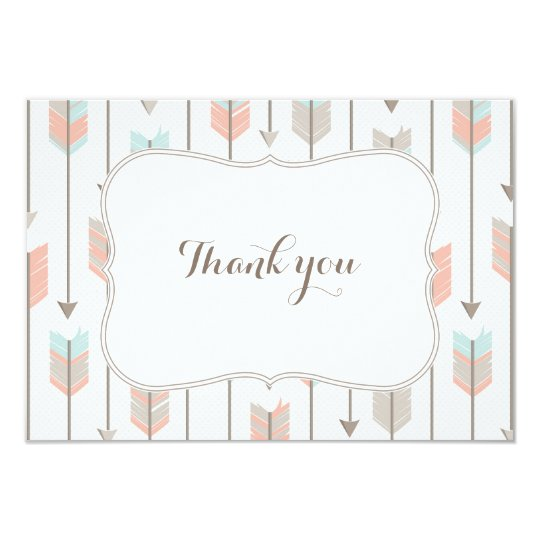 tribal arrows baby shower flat thank you card | zazzle, Baby shower invitations